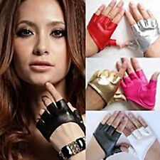 Women Punk PU Leather Gloves Driving Biker Car Dance Fingerless Short Mittens