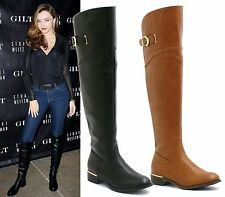 LADIES WOMENS FLAT KNEE HIGH STRETCH WIDE RIDING BOOTS LEG MID CALF WINTER NEW