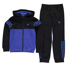 Adidas Boys 3 Stripe Jogging Suit Black/Blue New With Tags