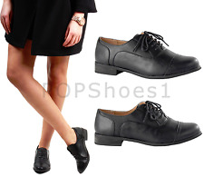 LADIES WOMENS FLAT BLACK OXFORD BROGUE LACE-UP PUMPS OFFICE WORK SHOES SIZES