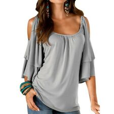 Women Fashion Off Shoulder Short Sleeve Tops Blouse Casual Loose Top T-shirt Tee