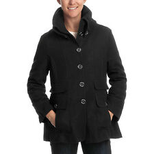 Excelled Collection Women Wool Coat A rib-knit, oversized collar - Black, L, XL