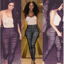 2017 Kim Kardashian Sexy Sleeveless Jumpsuit Ruched Black Mesh Rompers Overall