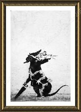 FRAMED Poster Rat With Dollar Eyes And Jigsaw Banksy For Home Decor Giclee