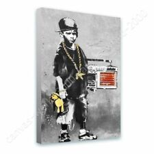 READY TO HANG CANVAS Boy With Dance Mat Banksy Framed Wall Decor Framed Print
