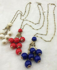 J.Crew Red/Blue/White Bead Cluster Necklace