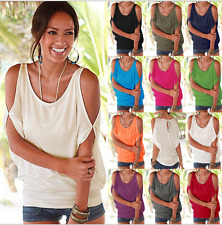 Womens Off The Shoulder Short Sleeve T-Shirt Loose Casual Top Blouse Tee Summer