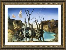 Alonline Art - FRAMED Poster Swans Reflecting Elephants Salvador Dali Frame
