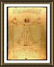 Alonline Art - FRAMED Poster The Vitruvian Man Leonardo Da Vinci Framed Posters