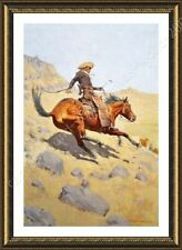 Alonline Art - FRAMED Poster The Cowboy Frederic Remington Oil Painting Print