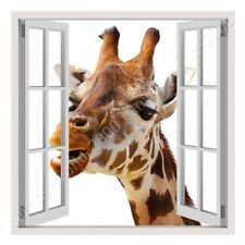 READY TO HANG CANVAS Giraffe Fake 3D Window Framed Print Oil Paintings Prints
