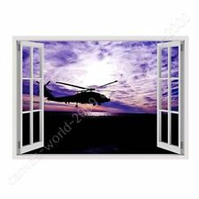 READY TO HANG CANVAS Purple Sunset Helicopter Fake 3D Window Framed Wall Decor