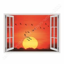 READY TO HANG CANVAS Geese Flying In The Sunset Fake 3D Window Framed Paints