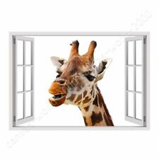 READY TO HANG CANVAS Giraffe Fake 3D Window Oil Painting Print Giclee