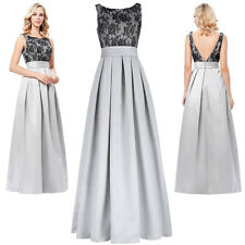 Women Formal Satin Lace Long Maxi  Evening Ball Gown Party Prom Bridesmaid Dress