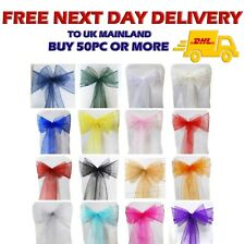 ORGANZA SASHES Chair Cover Decoration Fullers Bow Sash Wedding Party Pack of 100