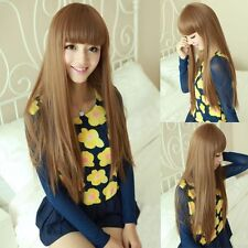 Fashion Womens Cosplay Party Wigs Full Long Straight Wig Hair Brown/Black/Flaxen