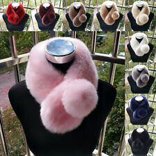 Lady Winter Warm Scarf Faux Rabbit Fur Collars Fluffy Soft Shawl Wrap Stole Cute