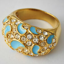 Vogue Women gold filled Crystal Drop Blue Enamel Cocktail Band Ring Size 6-8