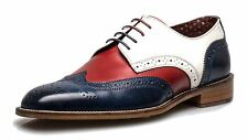 London Brogues Curtis Gatsby Party Brogues Lace Upp Shoes Navy / Red / White