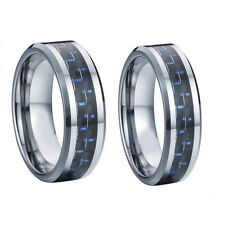 8MM Men or 6MM Ladies Tungsten Carbide Blue Carbon Fiber Wedding Band Ring Set