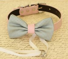 Gray Dog Bow Tie collar Dog ring bearer, Pet Wedding accessory Proposal Gay Pink