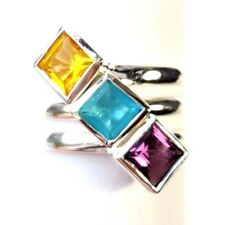 (SIZE 5,6,7,8,9)  3 STACK RINGS Cubes Amethyst Aquamarine .925 STERLING SILVER