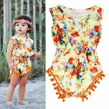 Infant Girls Summer Cute Floral Fringe Ball Romper Jumpsuit Sleeveless Clothes