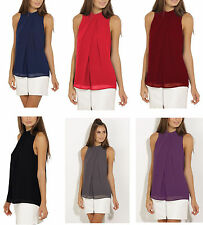 Fashion Women Solid Causal Sleeveless Summer Solid Chiffon Tops Blouse Clothes