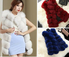 Women Lady Girl Sexy Faux Gilet Vest Waistcoat Sleeveless Jacket Long Shrug Coat