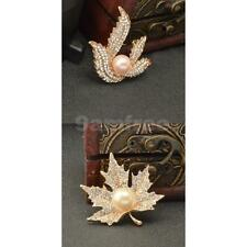 Vintage Leaf Shaped Brooch Party Jewellery Gold Crystal Faux Pearl Brooch Pin