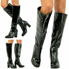 New Womens Ladies Knee Boots Patent Pu High Block Heel Booties Winter Shoes Size