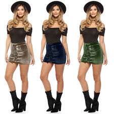 Fashion Sexy Womens Bandage Solid Velvet Club Party Cocktail Casual Mini Skirt