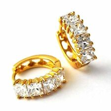 Gorgeous 18K Gold Filled Crystal Womens  Girls Hoop Earrings Fashion Jewelry