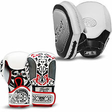 Professional Boxing Sparring Gloves Punch Bag Hook and Jab Focus Pads White