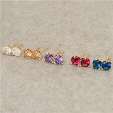 Fashion Rainbow Crystal 18K Yellow Gold Filled Womens Stud Earrings Jewelry