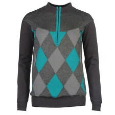 Slazenger Ladies Half Zip Argyle Lined Golf Jumper Charcoal/Lake New With Tags