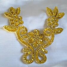 Gold Sequin Beaded Neckline Patch New Year Dance Dress Hair Applique