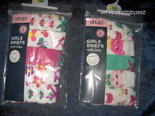5 PAIRS GIRLS BRIEFS BUTTERFLY or ANIMAL  -AGES 2/3 - 3/4 -5/6 -7/8 YEARS COTTON