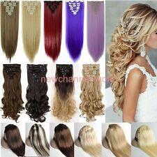 100% real Natural Full Head Clip in on Hair Extensions Extentions as human hair