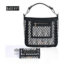 LYDC Exclusive Black And White Hobo Bag OR Purse With Monochrome Zigzag Design