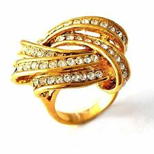 Intricate Clear Zircon Womens Love Ring 18K Gold Filled Rings SiZE 6,7,8,9,10