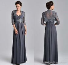 Chiffon Mother of Bride Groom Dress With 3/4 Sleeve Lace Jacket Long Gowns HD200
