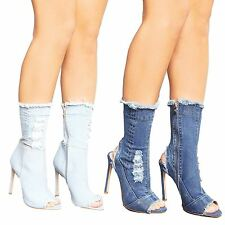 New Womens Ripped Denim Over the Ankle Peep Toe Stiletto Heel Boots Shoes
