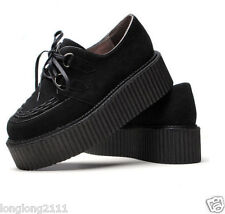 Goth Women's Faux Suede Lace Up Chunky Shoes High Platform Creeper Punk Shoes