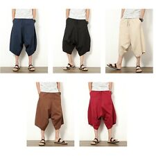 Men Harem Trousers Linen Baggy Loose Leisure Cropped Pants Shorts Oversize New