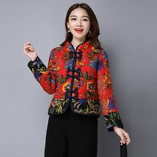 Ladies Cotton Blend Cropped Thermal Jacket Vintage Floral Frog Button Top Ethnic