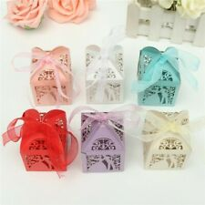 50pcs Bride Groom Laser Cut Candy Gift Box w/Ribbon Wedding Party Favor Box