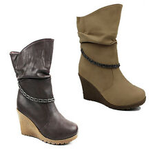 WOMENS LADIES SLOUCH FASHION MID CALF WEDGE PULL ON BOOTS BOOTEIS SHOES SIZE 3-8