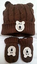 NEW BROWN CABLE KNIT HAT MITTENS SET BOYS GIRLS BABY NEWBORN INFANT 0 3 6 MONTHS